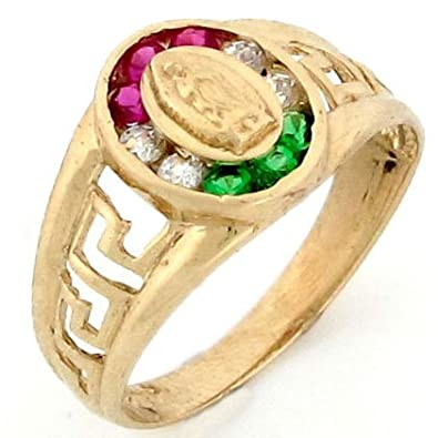 9ct Gold Our Lady Guadalupe Mexican Flag Colour CZ Ring