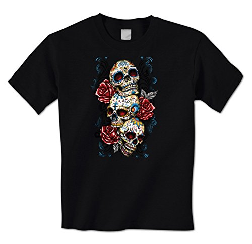 Day Of The Dead Sugar3 Skulls 3 Roses Cross Dia De Los Muertos Mens T-Shirt