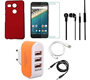 NIROSHA Tempered Glass Screen Guard Cover Case Headphone USB Cable Charger for LG Nexus 5x - Combo