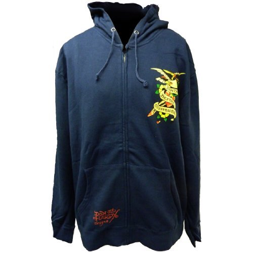 Ed Hardy Mens Basic Death Before Dishonor Zip Up Hoodie - Navy - Xx-Large