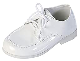 DressForLess Classic Lace-Up Oxford Boys Shoes, White, Y3