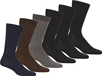 UHDressRibbed6pk5699 Womens Cotton Blend Ribbed Dress Socks Value Assorted 6-Pack - 9-11