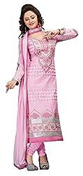 CreationBuddy Light Pink Embroidered Cotton Salwar Suit Dress Material Chudidar Party,Festive
