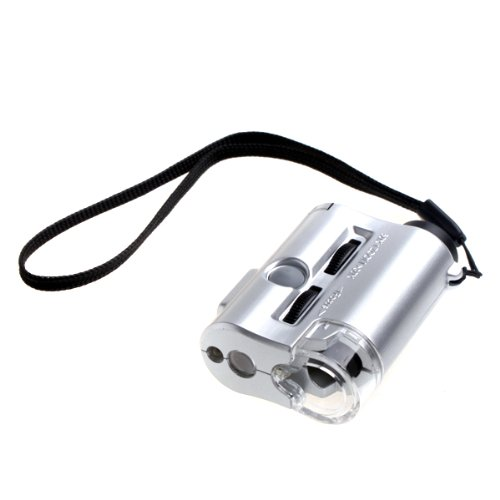 Tomtop 30X 60X Mini Pocket Magnifier Microscope Loupe Led Currency Uv Detector