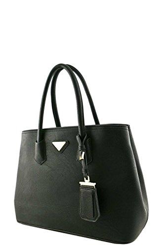 womens-designer-faux-leather-rear-zipper-pocket-top-handle-bag-va2003-black