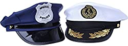 "Police Hat And Sea Captain Hat Costume Accessory Halloween - 2 Pc Set - 9"" x 5.50"" x 9"" by Juvale"