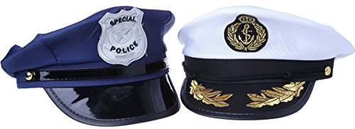 Police Hat And Sea Captain Hat Costume Accessory Halloween - 2 Pc ... 944b4c8bc6