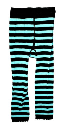 Turquoise Blue & Black Striped Kids Leggings from Sourpuss Clothing