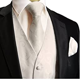 Paul Malone Wedding Vest Set White 5pcs Tuxedo Vest + Necktie + Ascot + Hanky + 2 Cufflinks S
