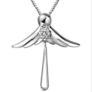 Yasson Bling Fashion Jewelry 925 Sterling Silver with Crystal Angel Designed Cross Pendant Necklace