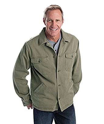 Woolrich Men's Dorrington Fleece-Lined Cotton Shirt Jacket, DARK WHEAT (Beige), Size L