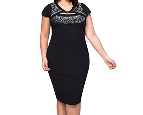 FQHOME Womens Black Curvaceous Cutout Foil Print Bodycon Dress Size 2XL (That 70s Show Outfits)