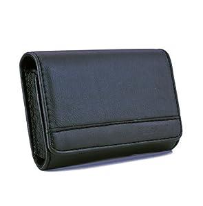 Black PU Leather case for Canon S1400 A2400,A4000 IXUS,Samsung ST66,ST76,DV300F, Nikon S6200,S3300, Panasonic SZ3 SZ5,FS50 & other Sony Olympus Fuji Pentax compact digital cameras