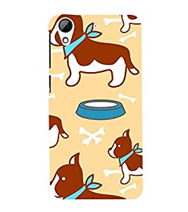 animated dog and bone in peach background pattern 3D Hard Polycarbonate Designer Back Case Cover for HTC Desire 728::HTC Desire 728G