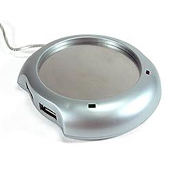 WINOMO Cup Warmer Heater Pad with 4 Port USB Hub - Silver