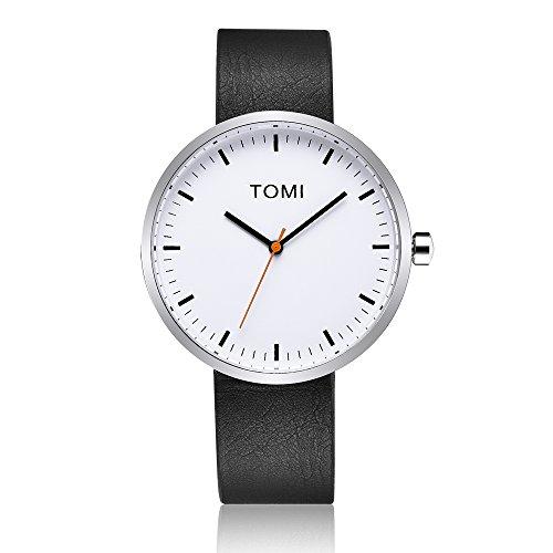 Tomi Watch 004 Quarzo Analogico Acciaio Inossidabile Bianco Rosso Pelle Nero Unisex Orologio Design