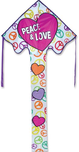 Premier 44166 Large Easy Flyer Kite with Fiberglass Frame, Love and Peace