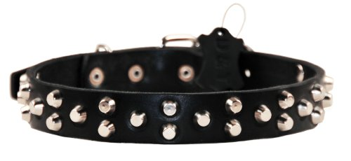 Dean and Tyler EGYPTIAN GEM-Inch, Dog Collar with Conical Pyramid and Nickel Hardware, Black, Size 16-Inch by 1-1/4-Inch, Fits Neck 14-Inch to 18-Inch
