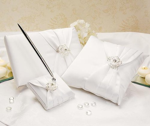 Crystal Flora Brooch Wedding Ceremony Bridal Set: Ring Pillow Guest Book and Pen Set