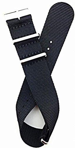 24Mm Nato Style, High Quality Nylon Fabric Watch Strap - Black