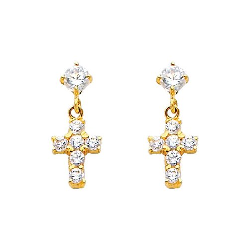 14K Yelllow Gold Cross CZ Stud Earrings with Screw-back for Children
