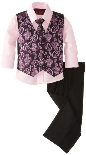 Milano Couture Baby-Boys Infant Paisley Fun Vest Set, Pink/Black, Medium/12 Months