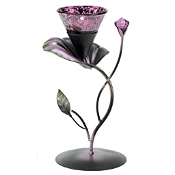 Koehler Home Decor Gift Accent Lilac Lily Pad Metal Glass Tealight Candle Holder by Koehler