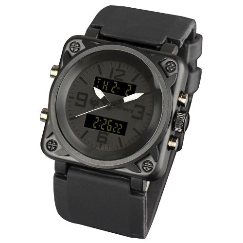 INFANTRY Mens Digital Analogue Combi Wrist Watch Sport Black Rubber Strap Date Alarm Chronograph #IN-023-ALLB-R