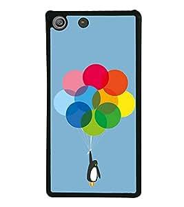 Penguin with Balloons 2D Hard Polycarbonate Designer Back Case Cover for Sony Xperia M5 Dual :: Sony Xperia M5 E5633 E5643 E5663