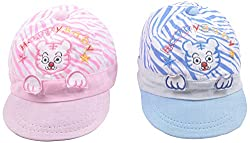 Kandyfloss Babies Caps - Pack of 2 Caps (MRHKFCAPS17, Multi-Colored, 0-3 Months)