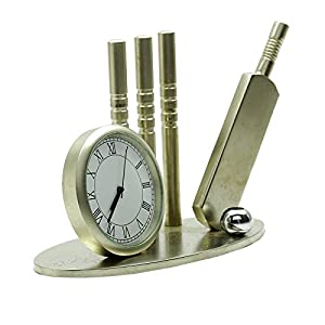 Decorative Cricket Clock Stainless Steel Watch Table Office Décor Gift from Indianbeautifulart