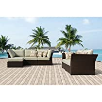 Hot Sale Oreanne 6-piece Sorrel Wicker Outdoor Furniture Set with Pillows