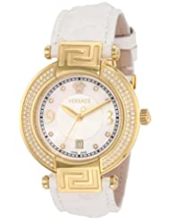 Versace Women's 68Q71SD498 S001 Reve 3 H White Genuine Python Mother-Of-Pearl Diamond Watch