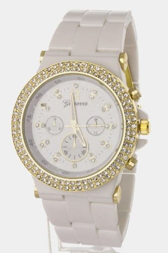 Trendy Fashion Jewelry Crystal Chrono Fashion Watch By Fashion Destination | (White/Gold)
