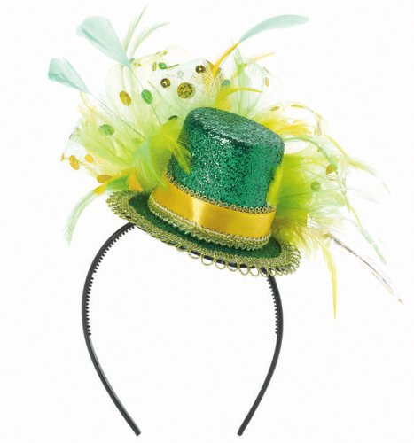 St. Patrick's Feathered Mini Hat Headband Party Accessory - 1