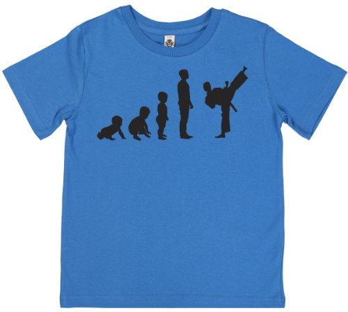 Phunky Buddha - Evolution To Karate Kid'S Boys T-Shirt 5-6 Yrs - Blue front-609830