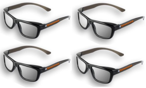 4 pairs - Adult Passive 3D Glasses Genuine eDimensional Sealed RealD Compatible Circular Polarized 3D Glasses for Passive 3D TV's Televisions from SONY, Panasonic, Vizio, Toshiba, LG, Philips and JVC