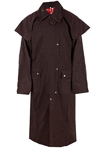 Mens Oil Cloth Oilskin Western Australian Waterproof Duster Coat Jacket (Brown, Large)
