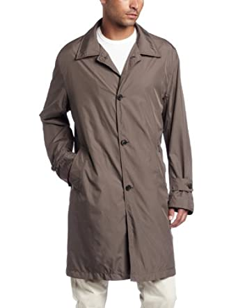 Faconnable Men's Packable Travel Trench Coat, Stone, Small