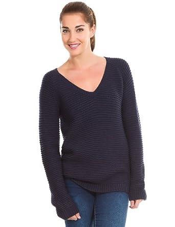 Springfield - Grob gestrickter Pullover mit V-Ausschnitt - Damen, XXL, marineblau