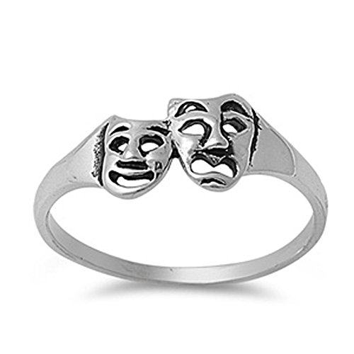 Sterling Silver Comedy & Tragedy Masks Ring Smile Now Cry Later Band Size 8 (RNG12775-8) (Smile Now Cry Later Ring compare prices)