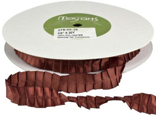 May Arts 5/8-Inch Wide Ribbon, Rust Satin Pleats front-86827