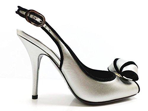 chaussures-femme-sergio-rossi-37-eu-sandales-ivoire-noir-cuir-velours-aw602