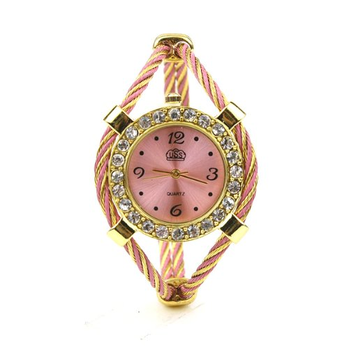 BestOfferBuy Women Gold Tone Rhinestone Twisted Band Bracelet Wrist Watch Pink