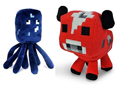 Official Minecraft 7 Plush Baby Mooshroom Cow Squid Figure Set Of 2 by Minecraft