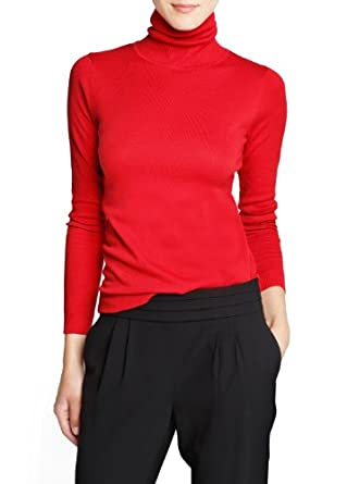 'Mango Women's Turtleneck Cotton-Blend Sweater, Red, Xxs