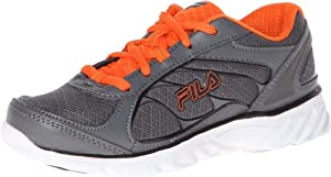 Fila Hyper Split 2 Running Shoe (Little Kid/Big Kid),Castlerock/Vibrant Orange/White,4 M US Big Kid