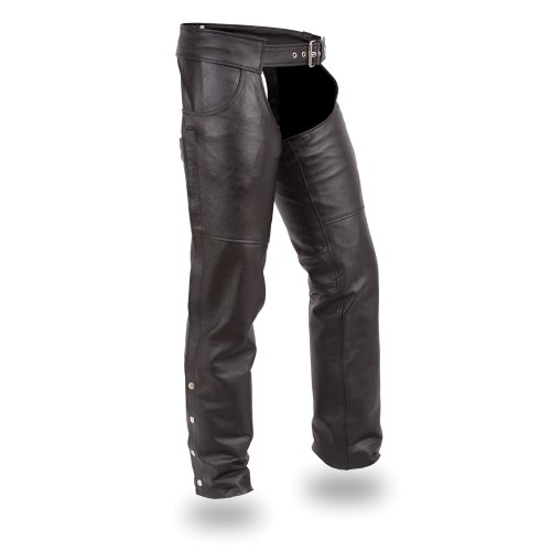 First Manufacturing Economy Chaps Especially Designed for Rallies and Swap Meets (Black, XXX-Small)