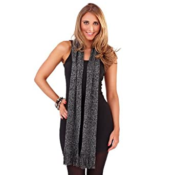 Ladies supersoft stylish and elegant scarf with lurex by satsuma (Black/Silver)