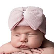 Melondipity Girls Newborn Pink Big Bow with Gem Hospital Baby Hat - Handmade in USA